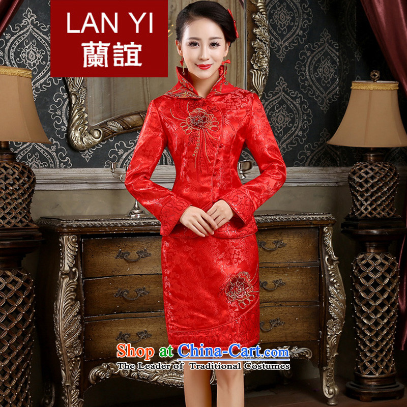 The Friends of the winter bride wedding dress cheongsam dress retro-thick winter cheongsam kit bride bows Dress燙ode Red XL waist 2.2 Feet