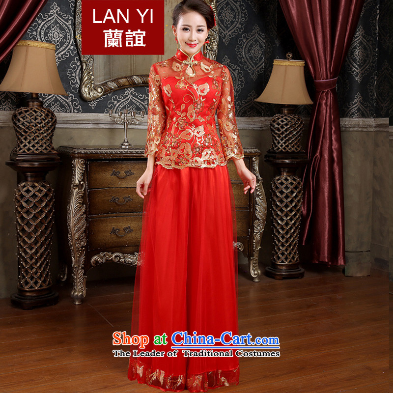 Lan-yi marriages cheongsam dress spring bows new retro improved cheongsam dress kit red Wedding Dress燙ode Red L waist 2.1 foot