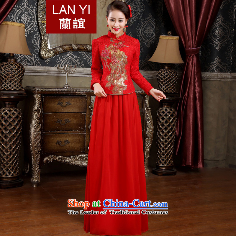 Lan-yi marriages cheongsam dress autumn and winter bows new retro improved cheongsam dress kit red thick autumn and winter, marriage cheongsam dress photo color code waist 2.2 feet XL