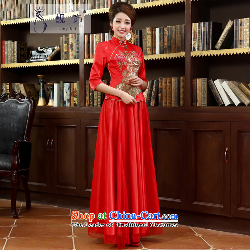 The new 2015 International Friendship cheongsam long red retro bows to winter marriages kit qipao autumn_?022 S