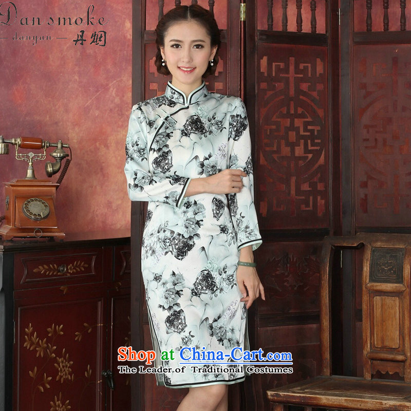 Floral qipao female Tang Dynasty Chinese herbs extract collar long-sleeved qipao retro annual cheongsam silk dresses video thin聽1032_ XL