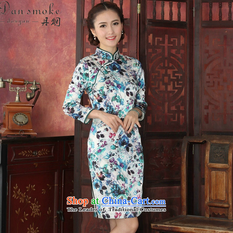 Dan smoke cheongsam dress Tang Dynasty Chinese herbs extract collar long-sleeved qipao retro annual cheongsam silk dresses video thin?1029# M