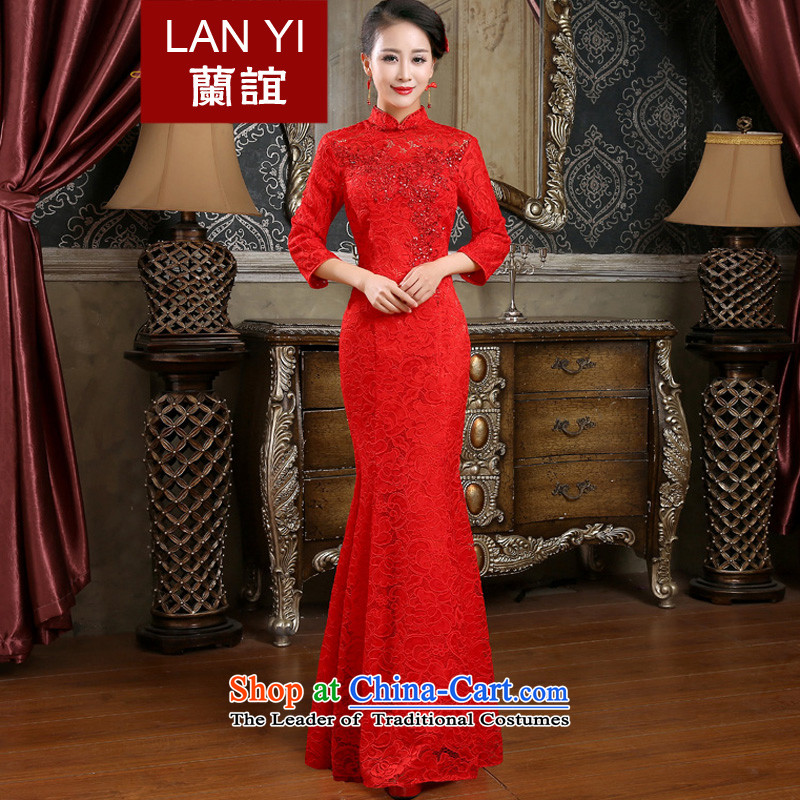 In 2015 the new friends of autumn and winter marriages bows cheongsam dress retro wedding dresses crowsfoot video thin red red dress in cuff XXL code waist 2.4 Feet