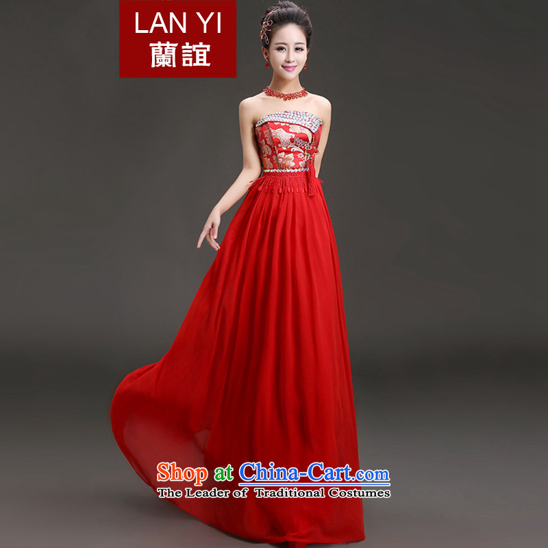 In the�spring of 2015, Friends New marriages anointed qipao gown Chinese single breast-diamond jewelry dress bridal dresses bows openings�M code 2 feet waist
