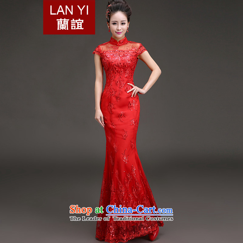 In the spring of 2015, Friends new bride wedding dress retro collar crowsfoot cheongsam dress wedding dresses red red bows M code 2 feet waist