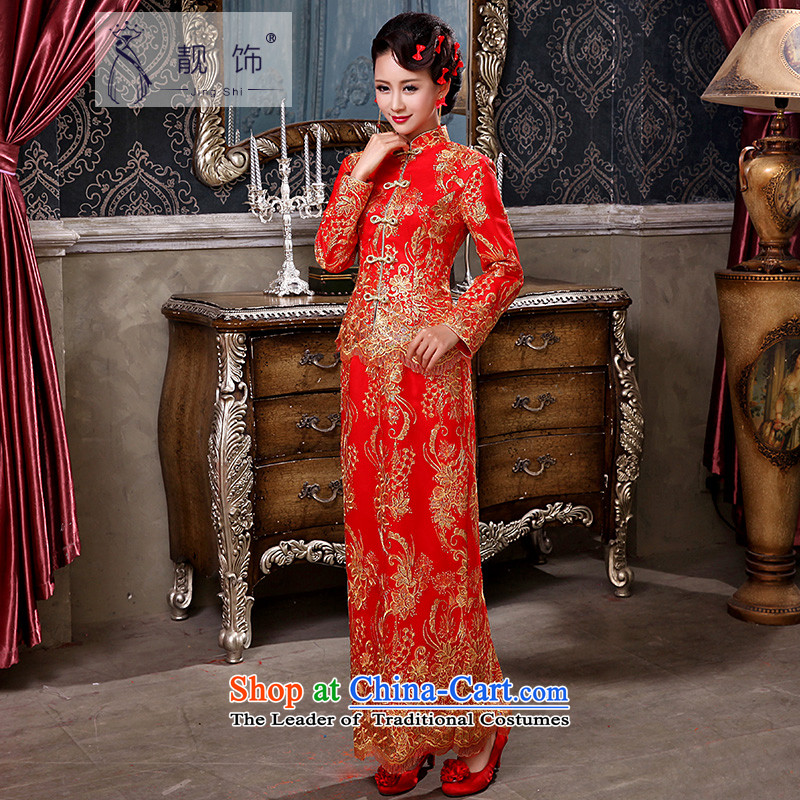 The talks with the autumn and winter 2015 new red marriages bows services improved long-sleeved red retro cheongsam dress of Qipao  XXL