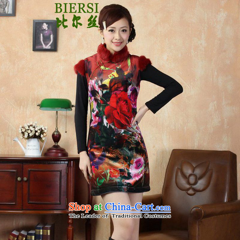 The Bill was the spring loaded new women's improvement of Tang Dynasty cheongsam collar for classical tray snap gross poster short of Qipao Sau San skirt Y0021_ S