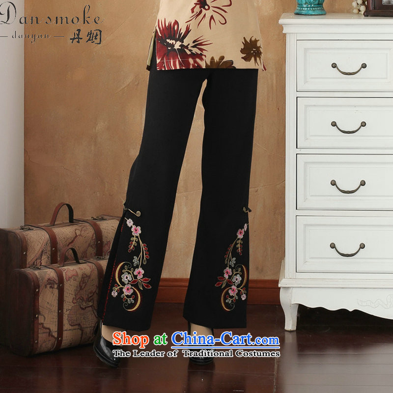 Dan women smoke during the spring and autumn in the Waist Trousers Tang straight legged pants beads embroidered trousers larger trousers Tang dynasty micro-bell-bottoms?- 1?4XL Embroidery