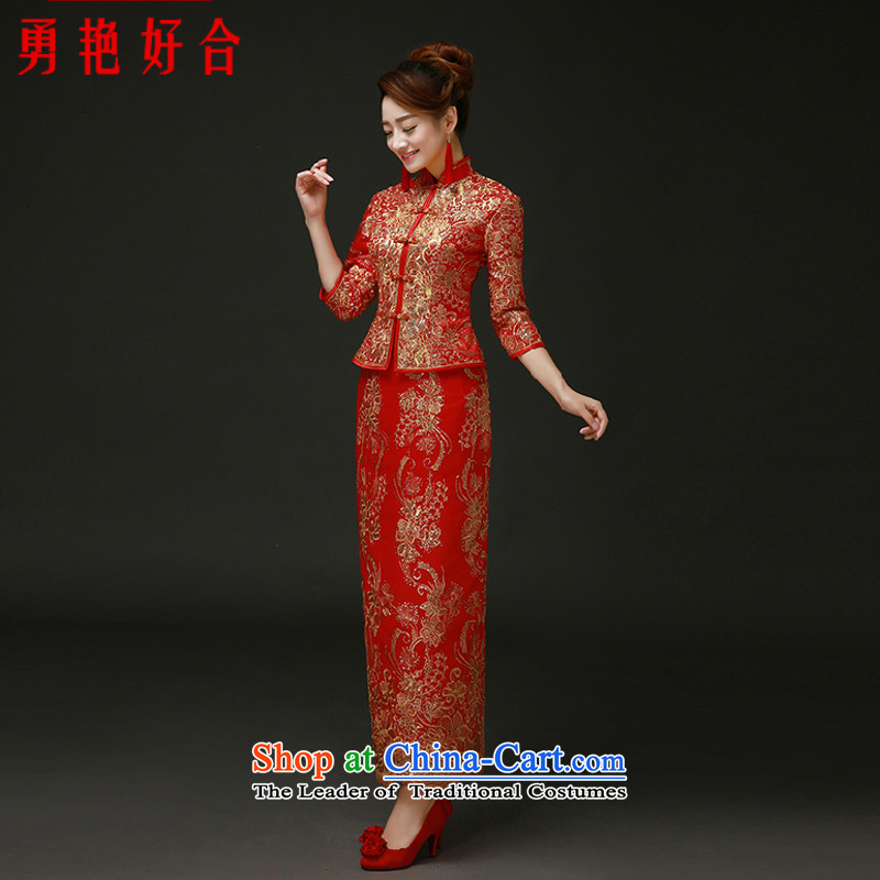 Yong-yeon and 2015 New Chinese wedding dress Sau Wo service long cotton bows to sepia bride qipao autumn and winter red cotton red in winter the folder unit of the autumn cuff XXL