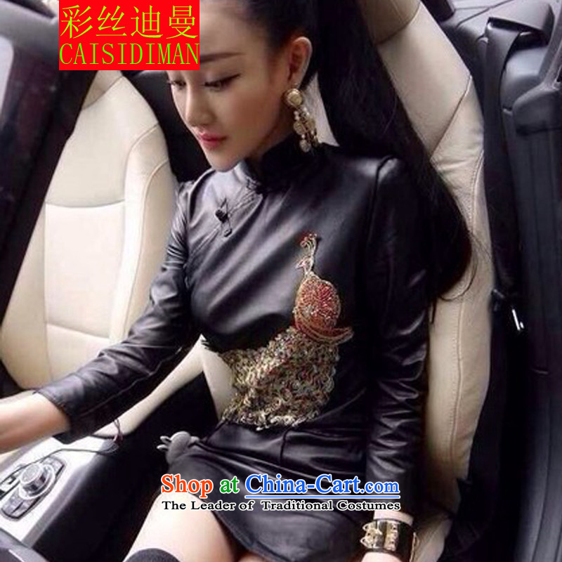 Multimedia population diman 2015 retro PU-clip Peacock Sau San package and qipao and sexy nightclubs leather black skirt燤