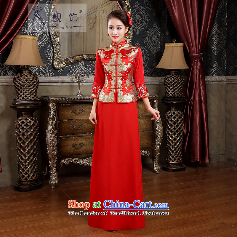 The new 2015 International Friendship qipao bows services bride red retro qipao bows services long cheongsam red made contact customer service