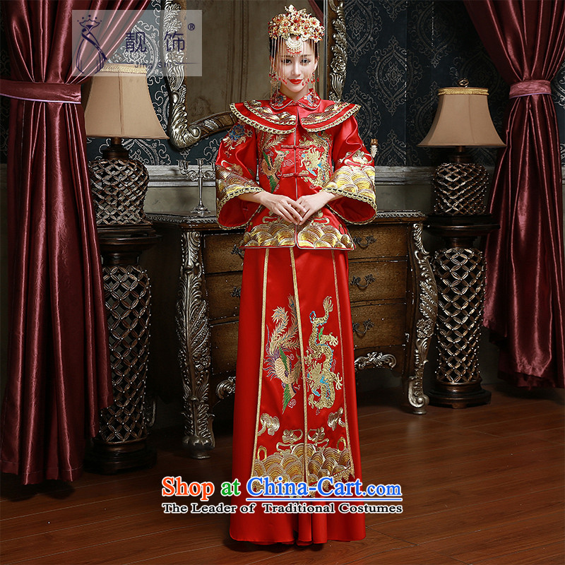 The new 2015 International Friendship Sau Wo Service new marriages bows to Chinese long red happy qipao kit RED燤