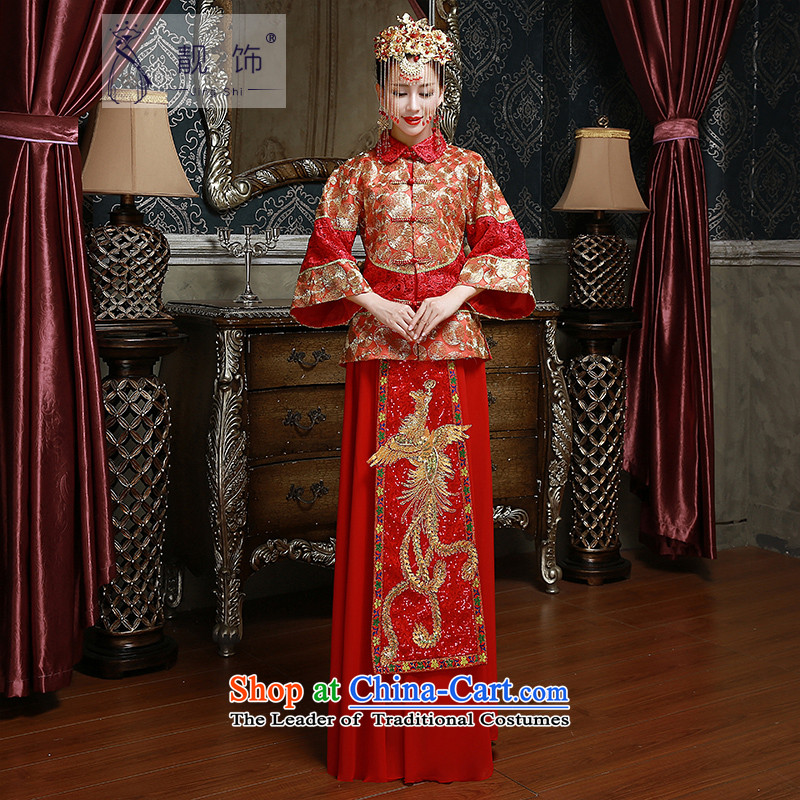 The new 2015 International Friendship Sau Wo Service marriages bows to Chinese style wedding dresses skirt retro long-sleeved red-soo wedding gown Wo Service聽S