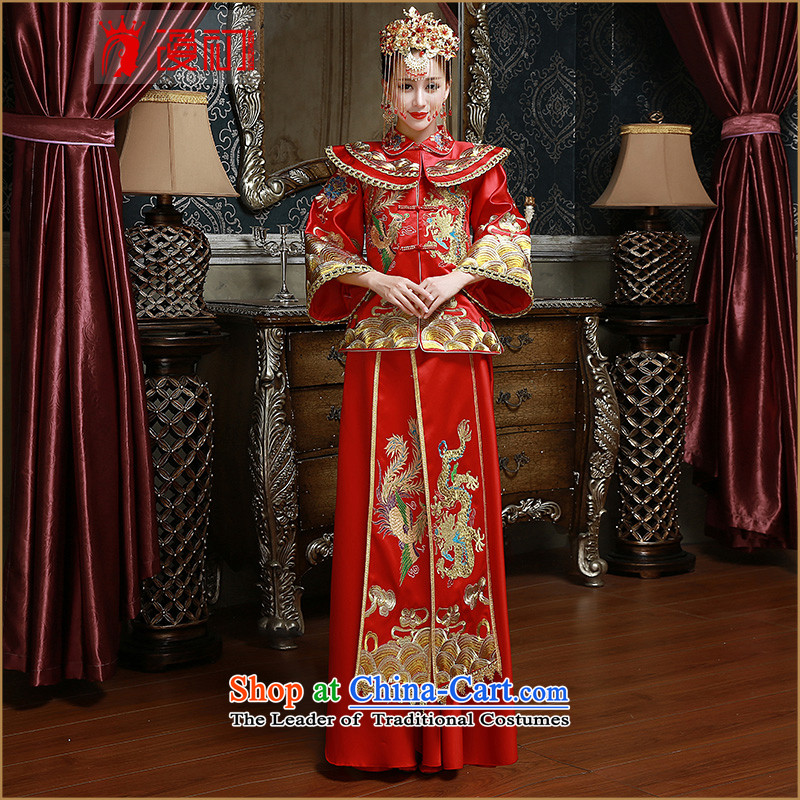 In the early 2015 New Man Soo Wo Service Bridal Services red retro bows of Qipao Red燲XL code