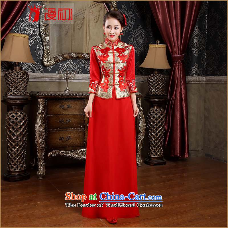 In the early 2015 new man bride red retro bows service long package for Red Cheongsam