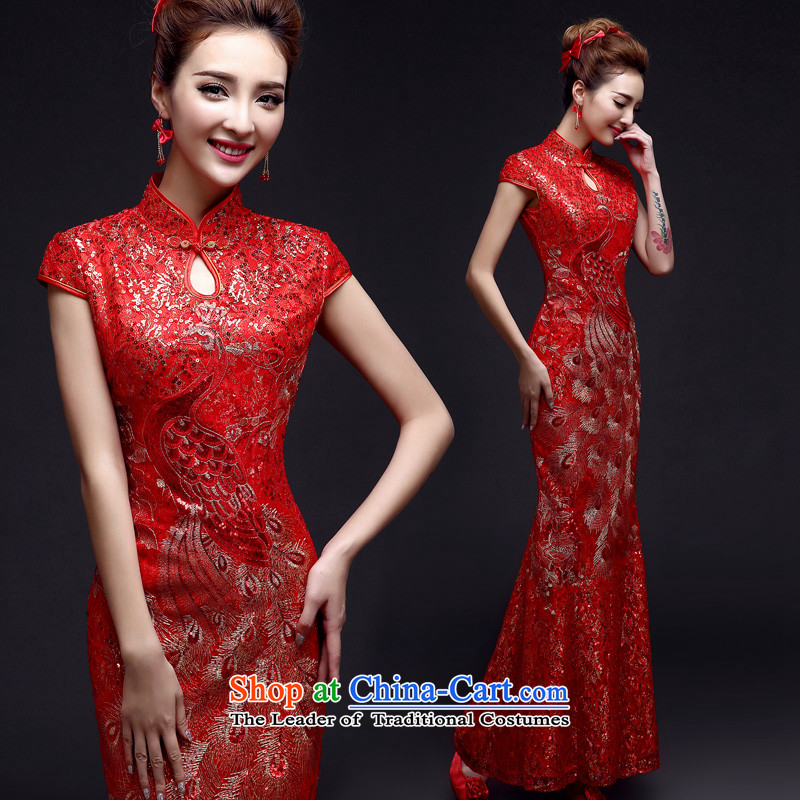 The privilege of serving-leung 2015 new bride of Chinese boxed wedding dress red wedding dress bows summer uniforms qipao crowsfoot RED M