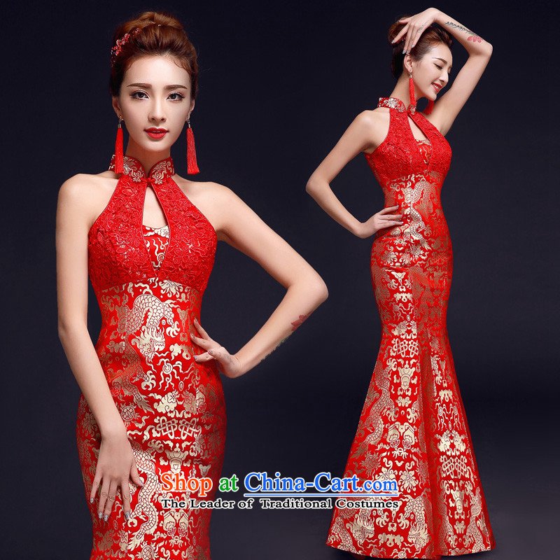 The privilege of serving-leung 2015 new bride red Chinese wedding dress wedding gown crowsfoot skirt bows services also red S Hang Cheongsam
