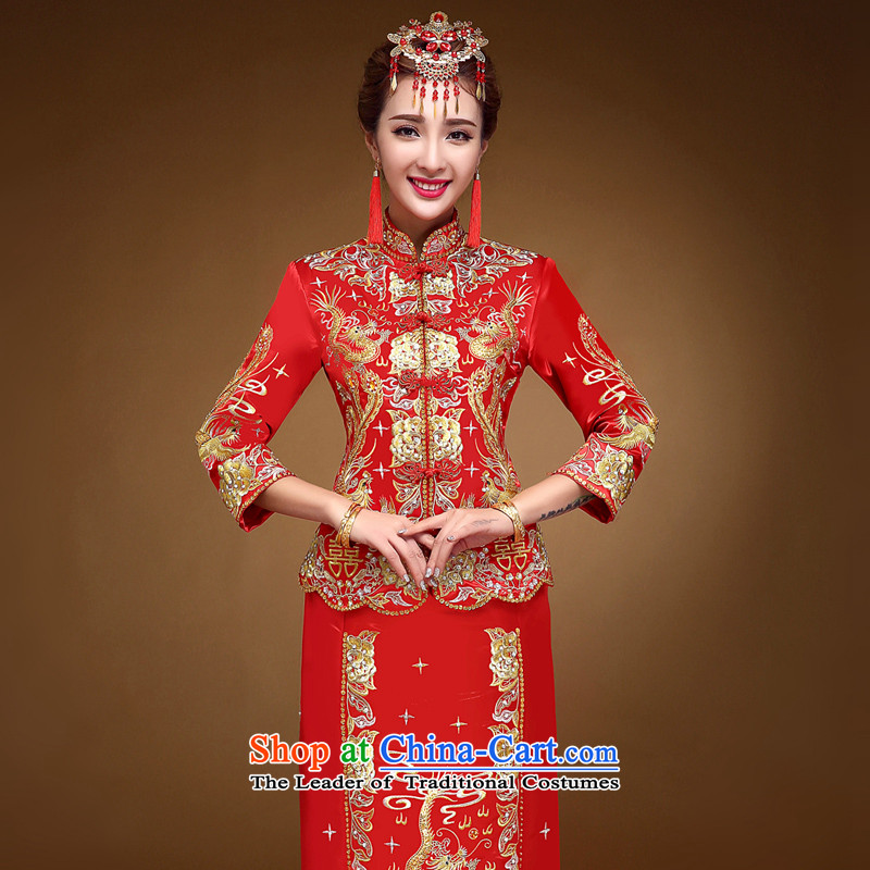The privilege of serving-leung 2015 new winter Chinese bride retro wedding dress cheongsam dress use dragon serving drink use red燬