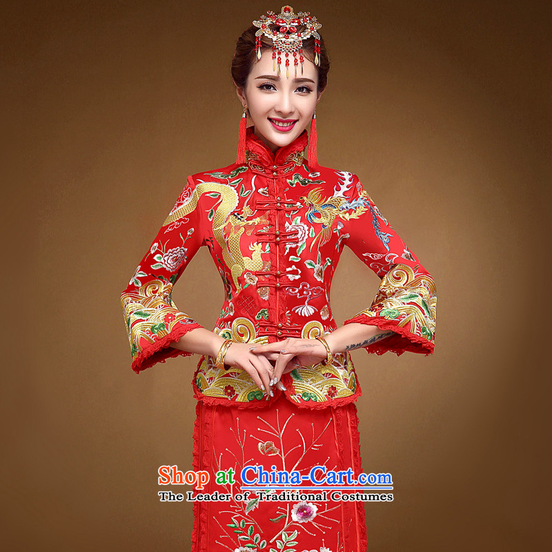 The privilege of serving-leung 2015 New Chinese qipao toasting champagne winter bride services retro wedding dress longfeng use skirt use Red�L