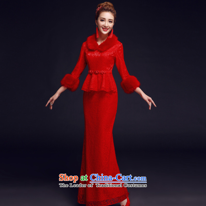 The privilege of serving-leung 2015 new winter chinese red color bride replacing wedding dress retro long qipao bows services RED?M