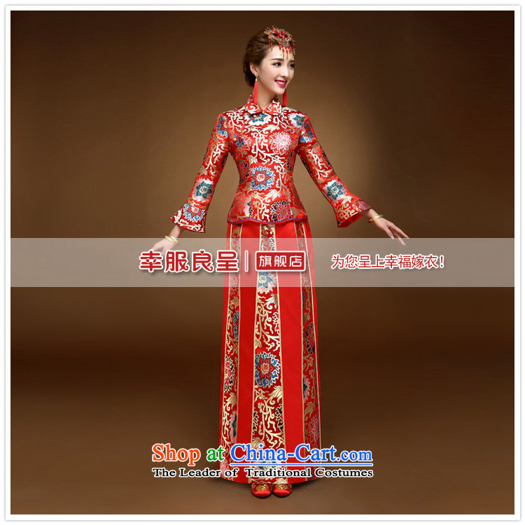The privilege of serving-leung 2015 winter new bride with chinese red color wedding dress bows marriage solemnisation wedding gown cheongsam RED M picture, prices, brand platters! The elections are supplied in the national character of distribution, so action, buy now enjoy more preferential! As soon as possible.