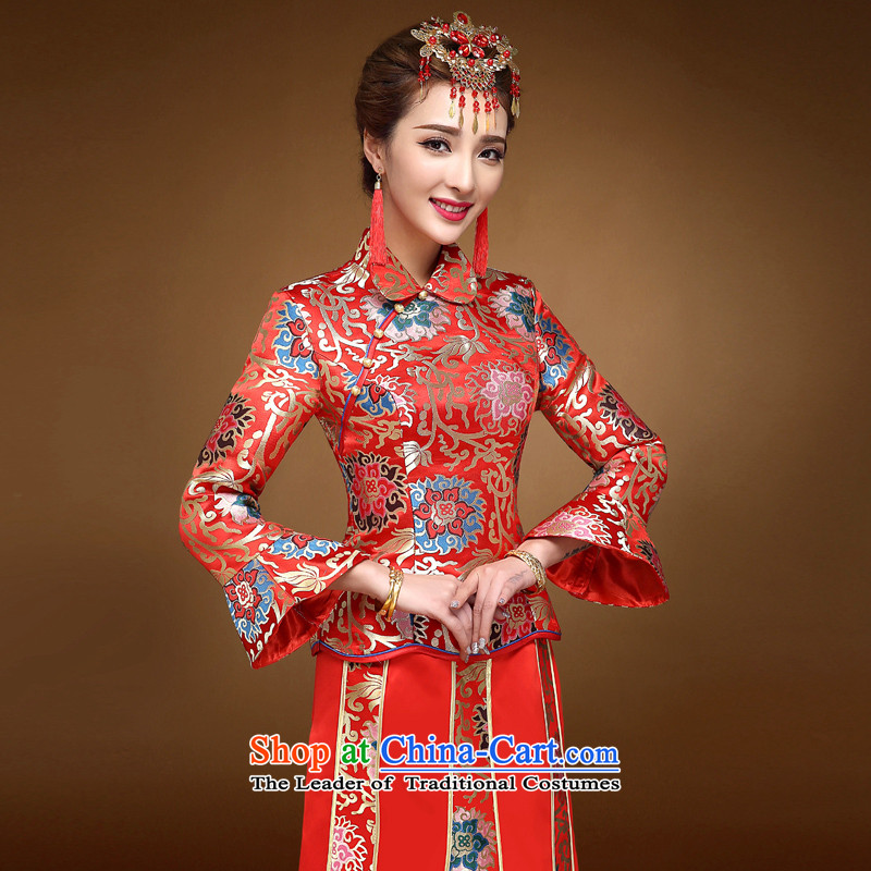 The privilege of serving-leung 2015 winter new bride with chinese red color wedding dress bows marriage solemnisation wedding gown cheongsam RED M