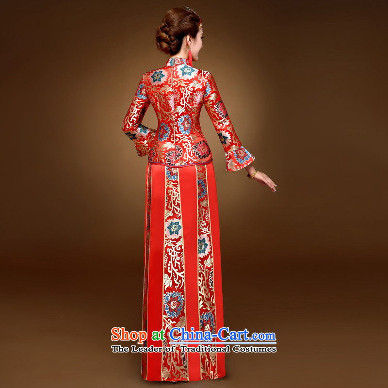 The privilege of serving-leung 2015 winter new bride with chinese red color wedding dress bows marriage solemnisation wedding gown cheongsam RED M, a service-leung , , , shopping on the Internet