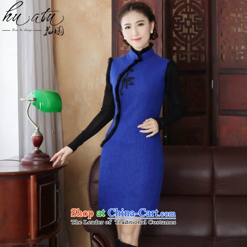 Floral燱omen 2015 Tang dynasty qipao autumn and winter cheongsam dress wool cotton folder? Chinese cheongsam dress collar improvement such as the map color�L