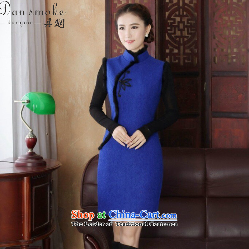 Dan�15 female qipao smoke Tang dynasty autumn and winter cheongsam dress wool cotton folder? Chinese cheongsam dress collar improvement such as the map color燲L