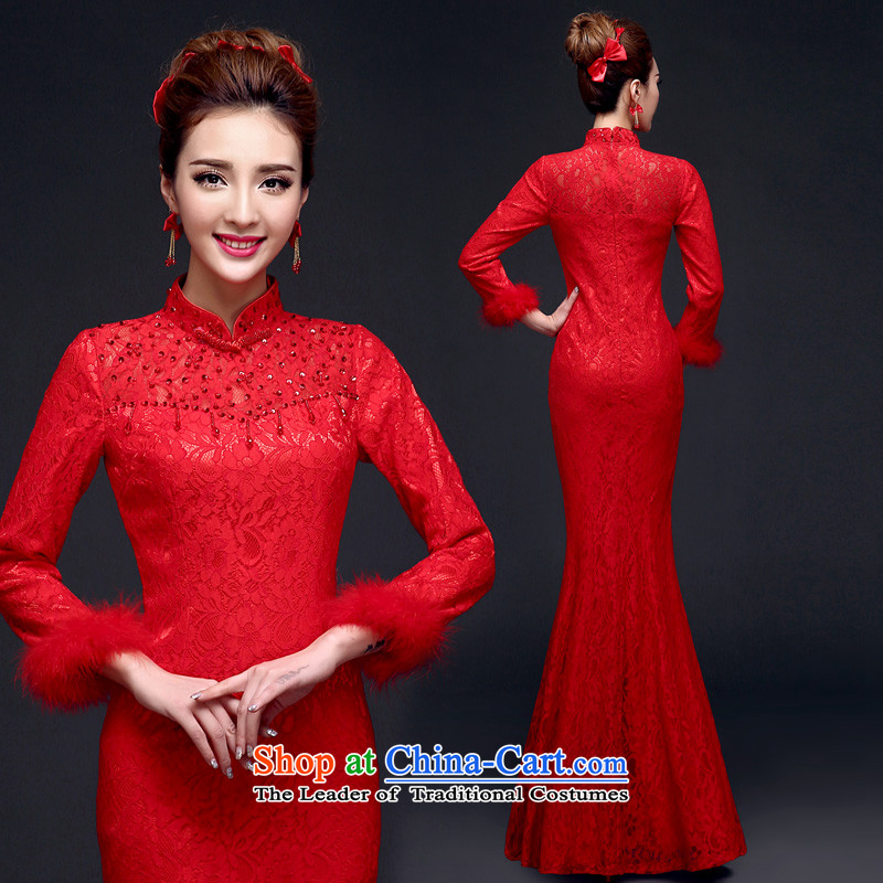 The privilege of serving-leung 2015 Winter New Chinese wedding dress bride red wedding dress bows services qipao crowsfoot�M-(40) red