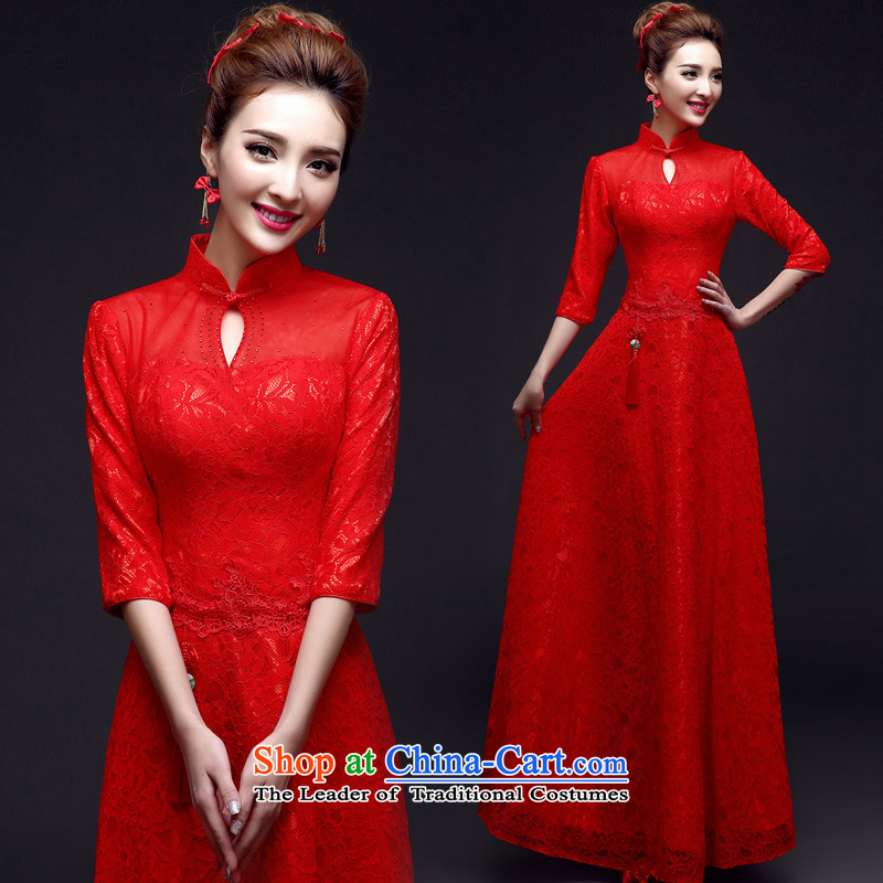 The privilege of serving-leung of autumn and winter 2015 New Chinese wedding dress bride wedding dress red toasting champagne Load Service cheongsam dress Red�2XL