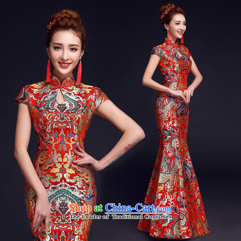 The privilege of serving-leung 2015 Red Winter new bride with Chinese wedding dress wedding dress uniform qipao crowsfoot red bows S