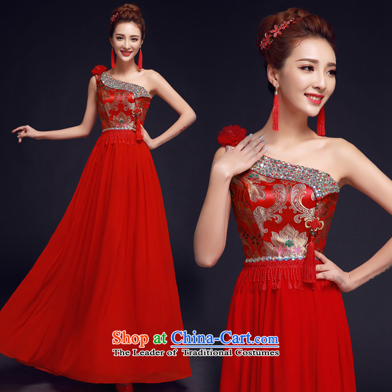 The privilege of serving-leung 2015 New Red single shoulder length_ Bride wedding dress Chinese wedding dress uniform qipao skirt red bows 2XL