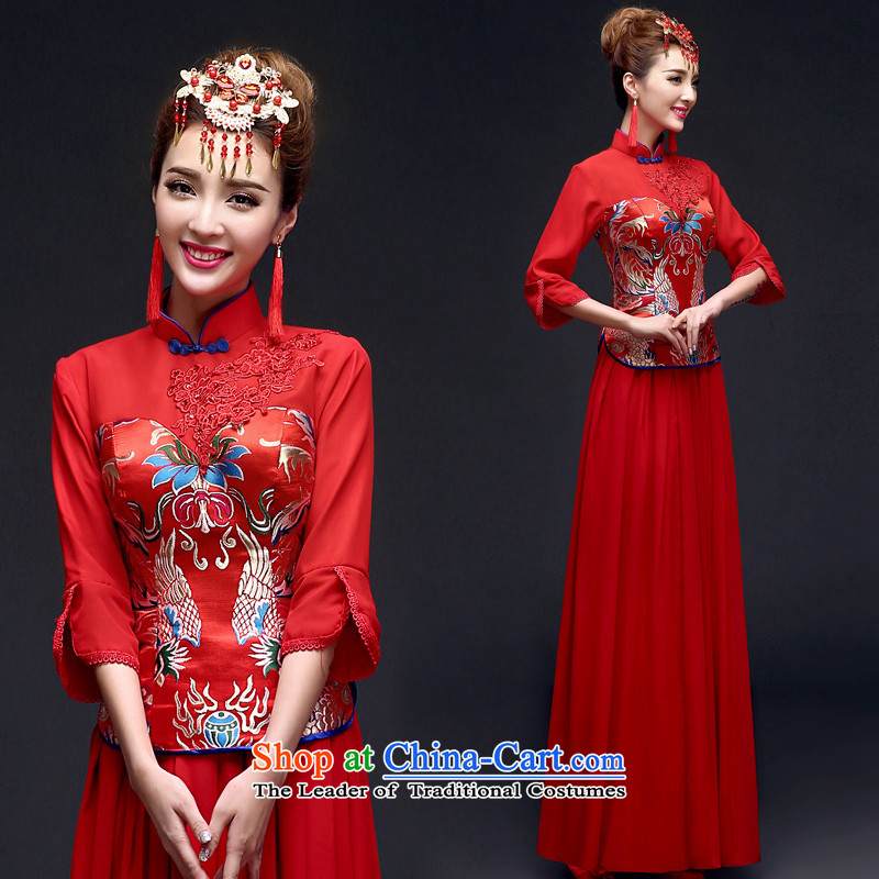 The privilege of serving-leung 2015 new spring and summer red bride wedding dress Chinese wedding dress uniform qipao red bows�XL