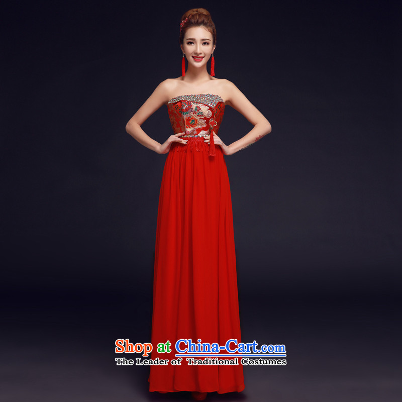 The privilege of serving-leung 2015 new bride of Chinese red anointed chest long wedding dress uniform qipao wedding gown bows red S