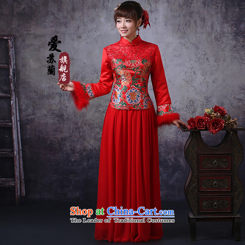 Marriages qipao skirt red long drink service new autumn and winter Chinese Dress retro cotton long-sleeved red燲XXL Folder