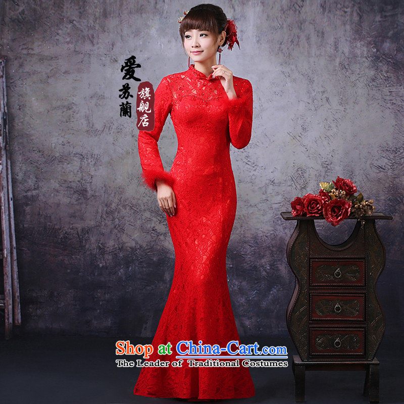 The new bride qipao marriage bows qipao crowsfoot long qipao winter clothing clip cotton plus gross qipao XXXL red