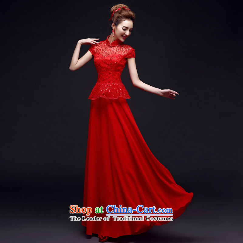 The privilege of serving-leung 2015 Winter New Red Chinese wedding dress bride wedding dress bows service pack qipao summer RED M