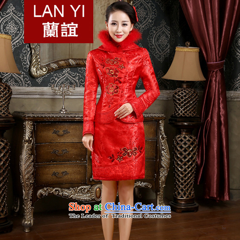 The Friends of the winter bride wedding dress cheongsam dress retro-thick qipao kit bride winter Marriage燙ode Red qipao bows L waist 2.1 foot