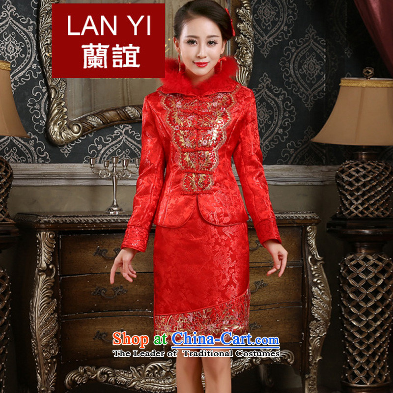 The Friends of the winter bride wedding dress cheongsam dress retro-thick qipao kit winter marriages bows services?XL Code Red waist 2.2 Feet