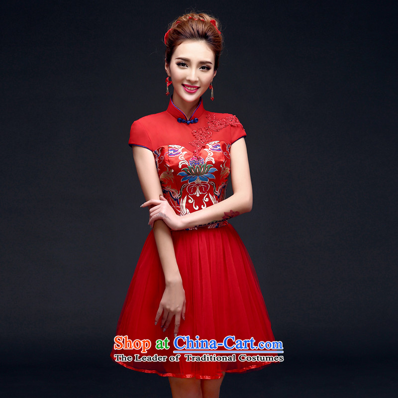 The privilege of serving-leung 2015 winter new bride red wedding dress bows service of qipao summer RED?M