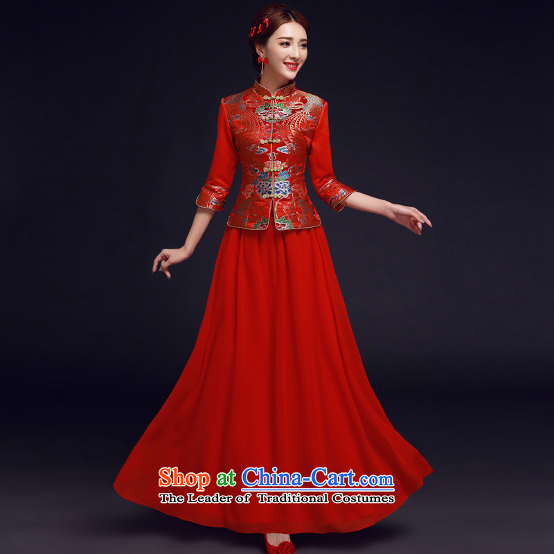 The privilege of serving-leung 2015 new bride with red winter wedding dress Chinese Antique long qipao bows services red燣