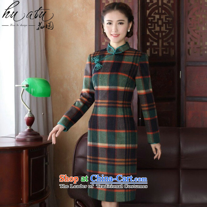 Floral?women in spring and autumn 2015 new cheongsam Tang Dynasty Chinese improved collar wool? long-sleeved chidori of qipao gown chidori?3XL.