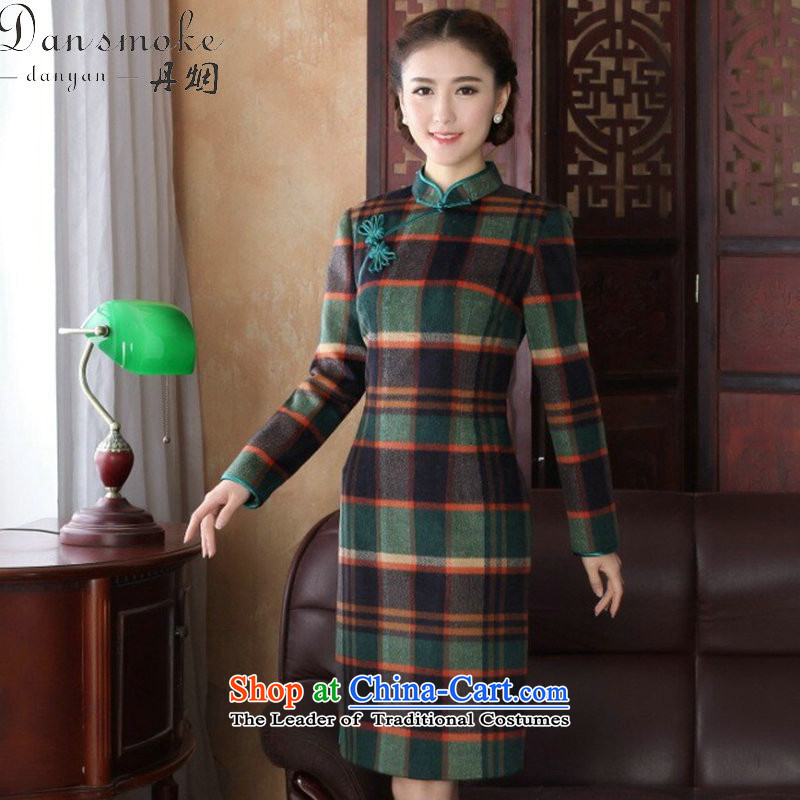 Dan�2015 women in spring and autumn smoke new cheongsam Tang Dynasty Chinese improved collar wool? long-sleeved chidori of qipao gown chidori grid�XL