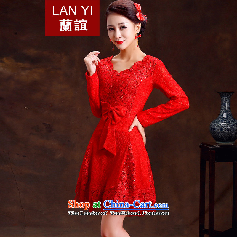 Lan-yi marriages cheongsam dress retro improvements bows cheongsam dress red spring and autumn qipao gown RED?M Marriage Code 2 feet waist