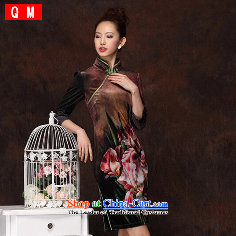 The end of the light _QM_ Improved Stylish retro qipao scouring pads short qipao聽XWG import聽picture color聽XL