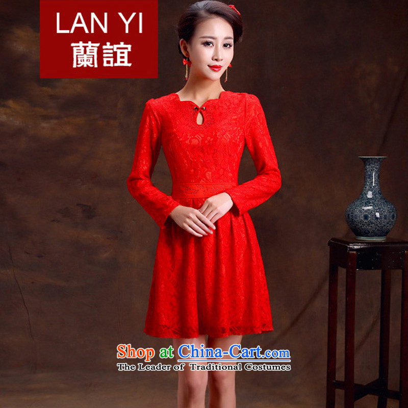 Lan-yi marriages cheongsam dress retro improvements bows stylish qipao skirt Red Spring and Autumn Chinese wedding dress quality assurance L code waist 2.1 foot