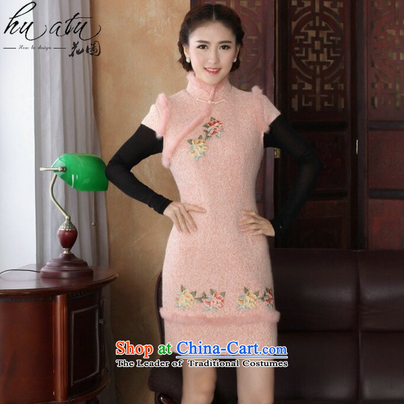 Floral autumn and winter cheongsam dress Tang Dynasty Chinese improved collar angora wool retro? embroidery peony dresses dress pink燤