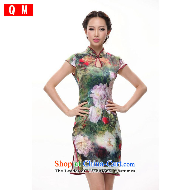 The end of the light _QM_ silk country Color drop-collar qipao perfume day for water droplets  XWGQP12018-12  XXXL color picture