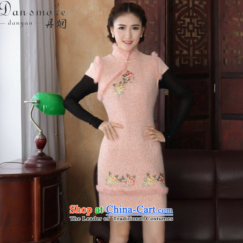 Dan smoke autumn and winter cheongsam dress Tang Dynasty Chinese improved collar angora wool retro? embroidery peony dresses dress pink燤